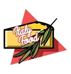 Color vintage italy food emblem vector image