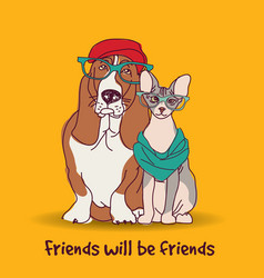 couple fashion friends pets fun animals card vector image vector image