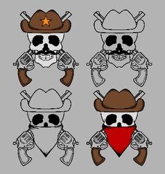 Cowboy skull mascot vector