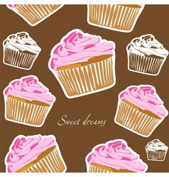 Cupcakes seamless vector image vector image