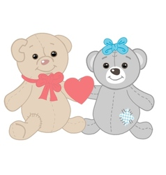 Cute bears couple Valentines card vector image