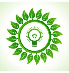 Eco bulb inside the leaf background vector image
