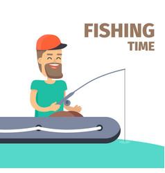 fishing time fisherman character vector image