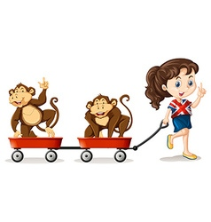 Girl pulling monkeys on the carts vector image