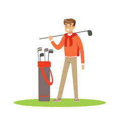 Golf player in a blue pullover standing with a bag vector