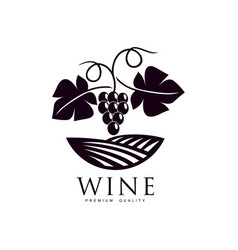 Grapevine with ripe grapes and leaves icon vector
