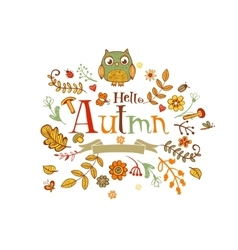 Hello autmn banner in doodle style vector
