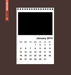 January 2014 calendar vector image vector image