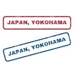 Japan yokohama rubber stamps vector