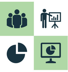 Job icons set collection of presenting man pie vector