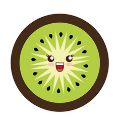 Kawaii kiwi slice vector