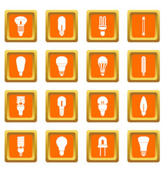 light bulb icons set orange vector image