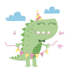 little cute dinosaur vector image