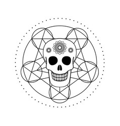 Ornamental skull with geometric symbol vector