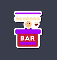 paper sticker on stylish background poker bar vector image