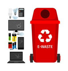 Red garbage can with e-waste elements vector