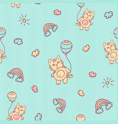 Seamless cartoon pattern little kitten vector
