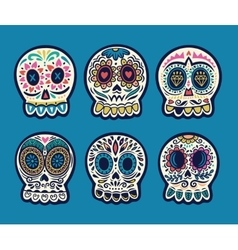 Set of six skulls Mexican holidays vector image