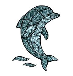 Stylized dolphin zentangle isolated on vector
