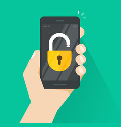 unlocked smartphone concept of security vector image vector image