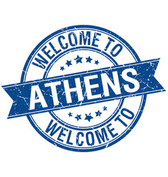 Welcome to athens blue round ribbon stamp vector