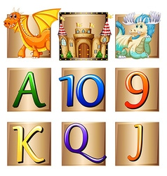 Dragons and letters on square badges vector image
