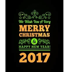 Vintage Merry Christmas and Happy New Year vector image