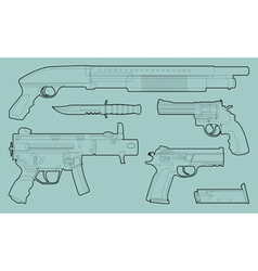 Set of outlined various weapons vector