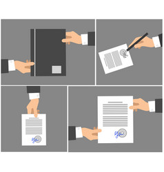 Signing contract stages picture collection on grey vector