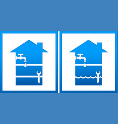 Set with house and plumbing wrench vector