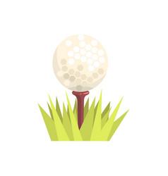 Golf ball on a tee tee in green grass golf sport vector