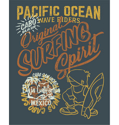 Pacific ocean surfing wave rider vector