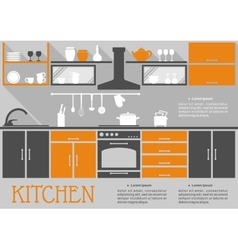 Flat kitchen interior design vector