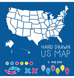 Hand drawn US map whith map pins vector image