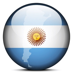 Map on flag button of argentina vector
