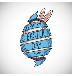 Blue color spiral ribbon and easter egg vector