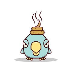 Isolated cartoon blue little bird get lucky on his vector image
