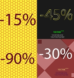 45 90 30 icon set of percent discount on abstract vector