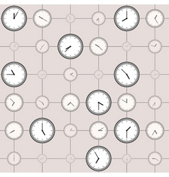 Background with different sized clocks vector