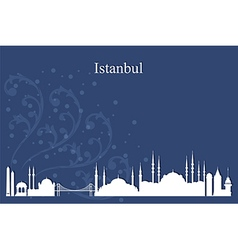 Istanbul city skyline on blue backgroun vector image