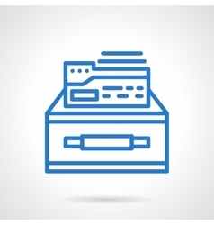 Box of documents blue simple line icon vector
