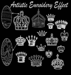 Crown embroidery set vector