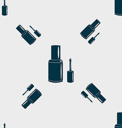 Nail polish bottle icon sign seamless pattern with vector