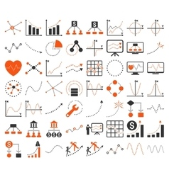 Business charts with triangle dots icons vector