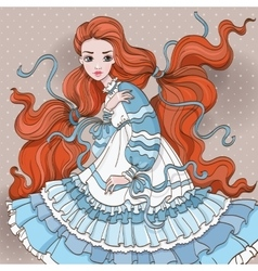 Art redhair girl in blue dress vector