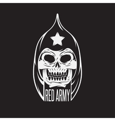 Red army soldier skull design template vector