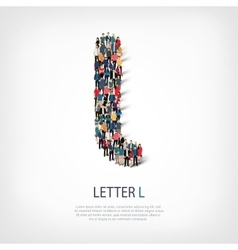 Group people shape letter l vector