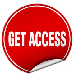 Get access round red sticker isolated on white vector