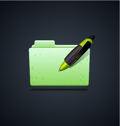 Folder icon with green pen vector