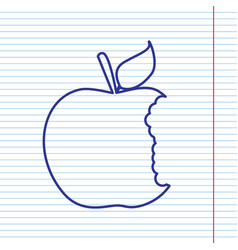Bite apple sign navy line icon on vector